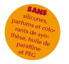 sans silicones, parfums et colorants de synthèse, huile de paraffine et PEG